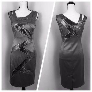 🆕 Signature by Sangria Dress. Gray Sequin Sz